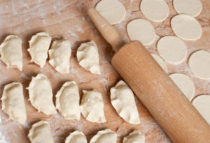 Raw home made pierogi (dumplings) in preparation