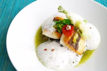 プレジールランチ|全6品・春の選べるメインディッシュ 玄海産季節の魚を香ばしくグリエして 八女茶のソース 玄米のカプチーノと共に