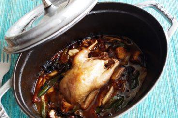 ムニュ デギュスタシオン(11品・秋) 埼玉産シャントゥ・カイユ やさしくロティしてキノコたっぷりのソースで オリーヴと八女茶のフレンチトーストと共に