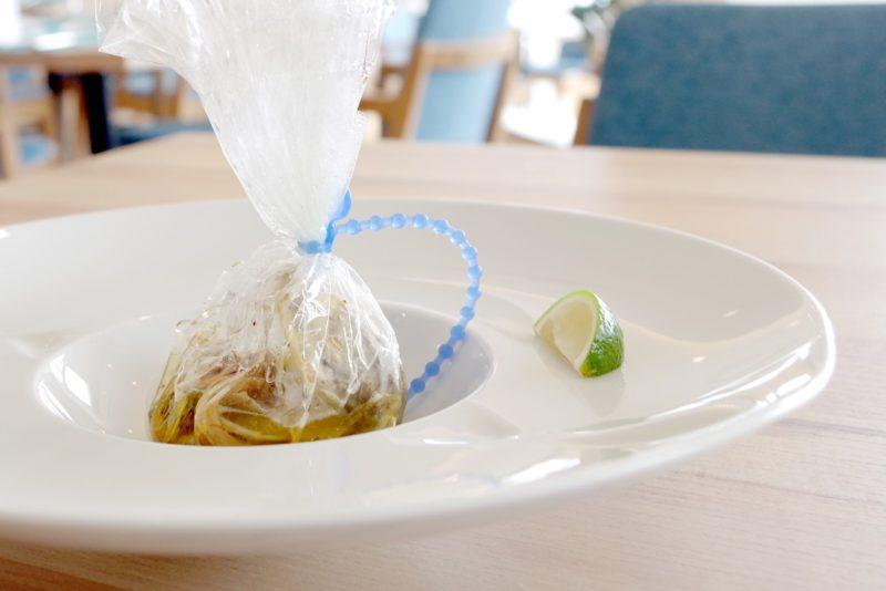 ムニュ テロワール ヨーロッパ産キノコ、地蛤、野菜やトラキカボチャ、ボルディエ海藻バター、大江農園無農薬カボスの香りを閉じ込めて パピヨット仕立てに